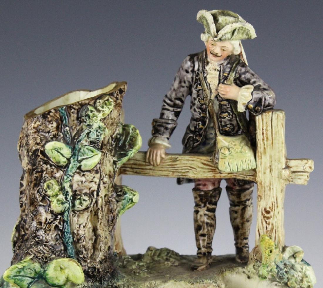 Antique French Figural Majolica Man w Pond Vase - 2