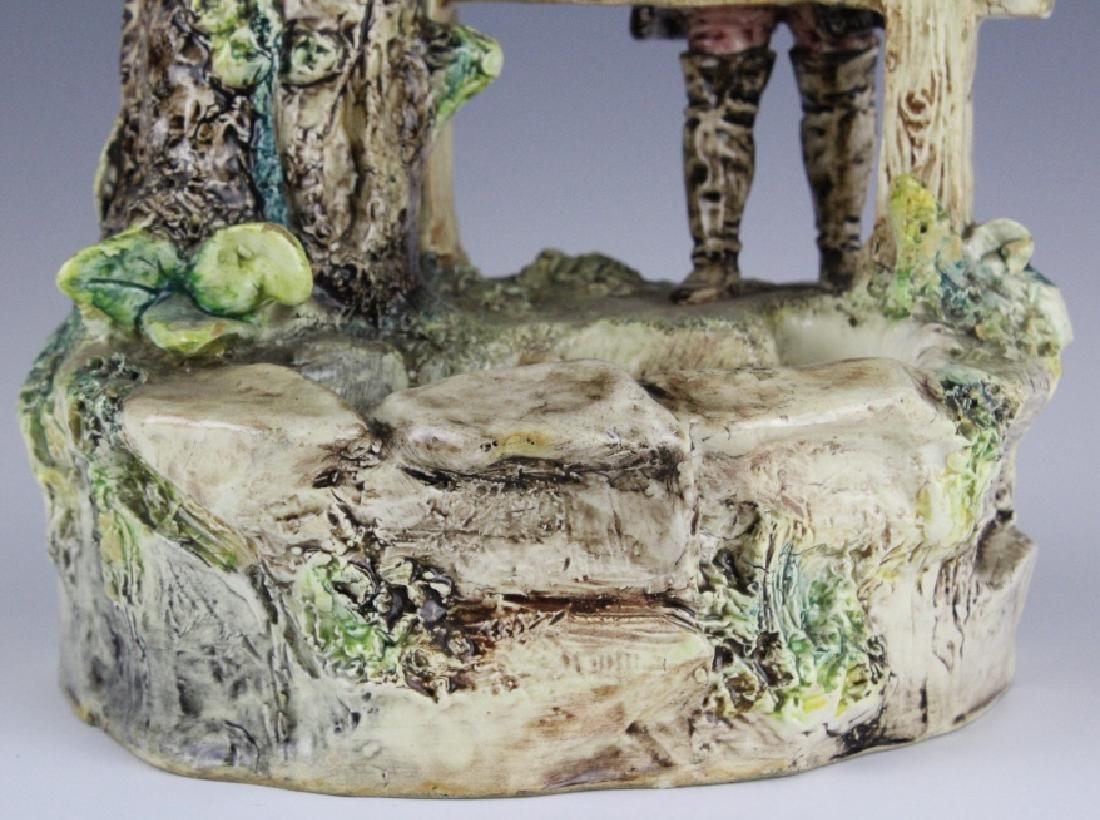 Antique French Figural Majolica Man w Pond Vase - 3