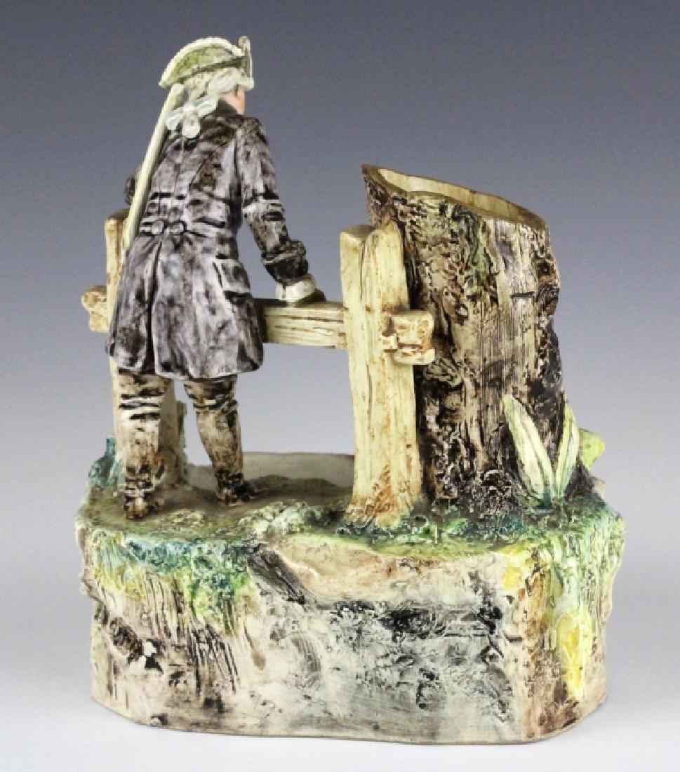 Antique French Figural Majolica Man w Pond Vase - 4