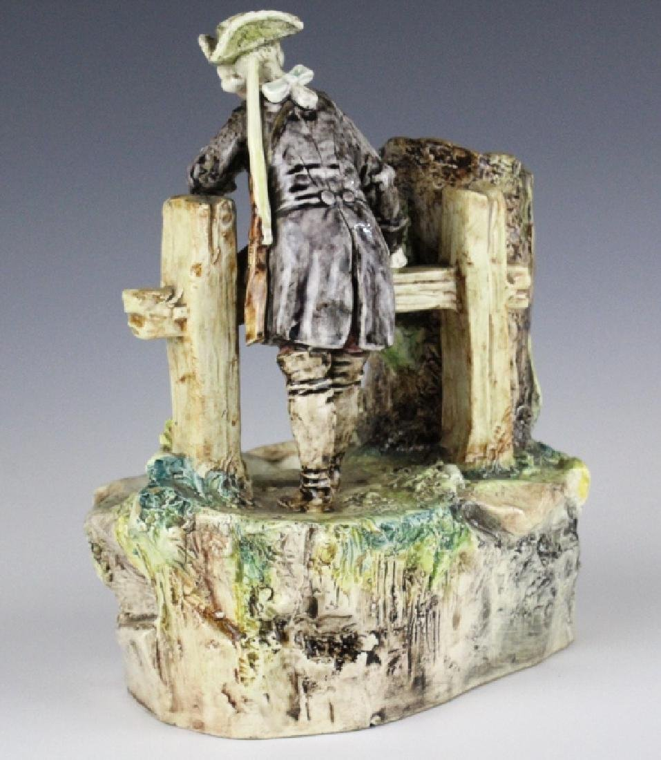Antique French Figural Majolica Man w Pond Vase - 5
