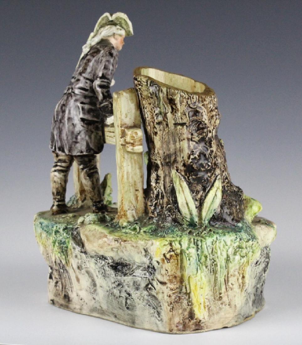 Antique French Figural Majolica Man w Pond Vase - 6