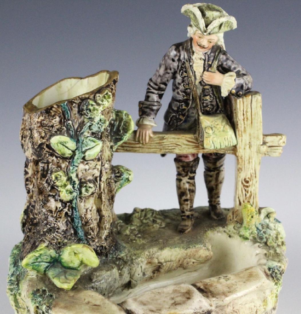 Antique French Figural Majolica Man w Pond Vase - 7