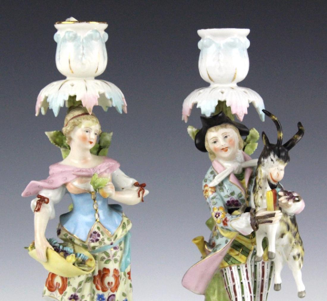 Pair Sitzendorf Figural Porcelain Candlesticks - 2