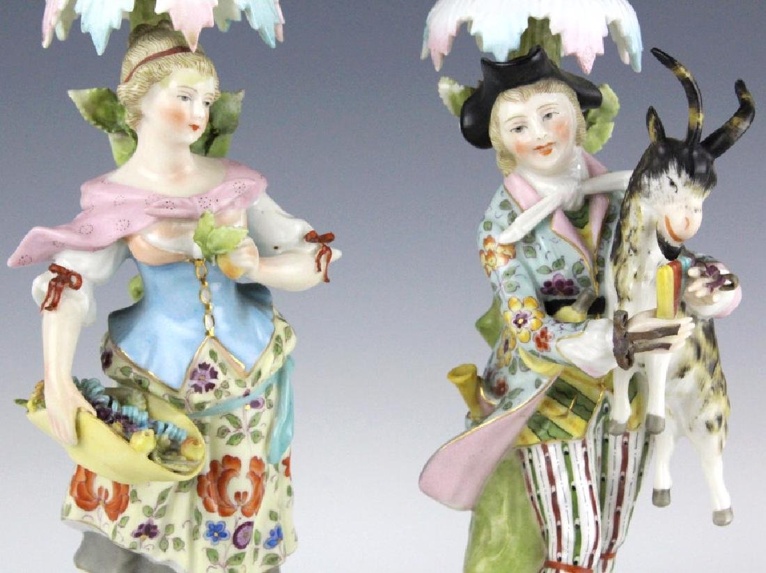Pair Sitzendorf Figural Porcelain Candlesticks - 4