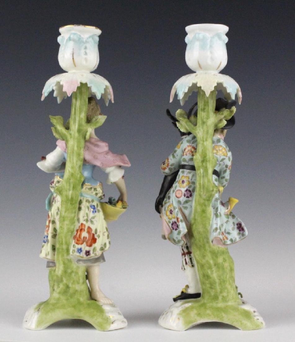 Pair Sitzendorf Figural Porcelain Candlesticks - 5