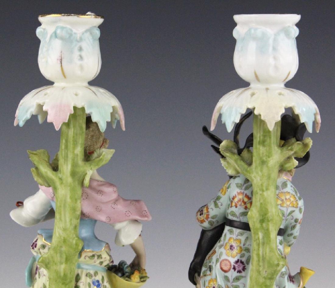 Pair Sitzendorf Figural Porcelain Candlesticks - 6