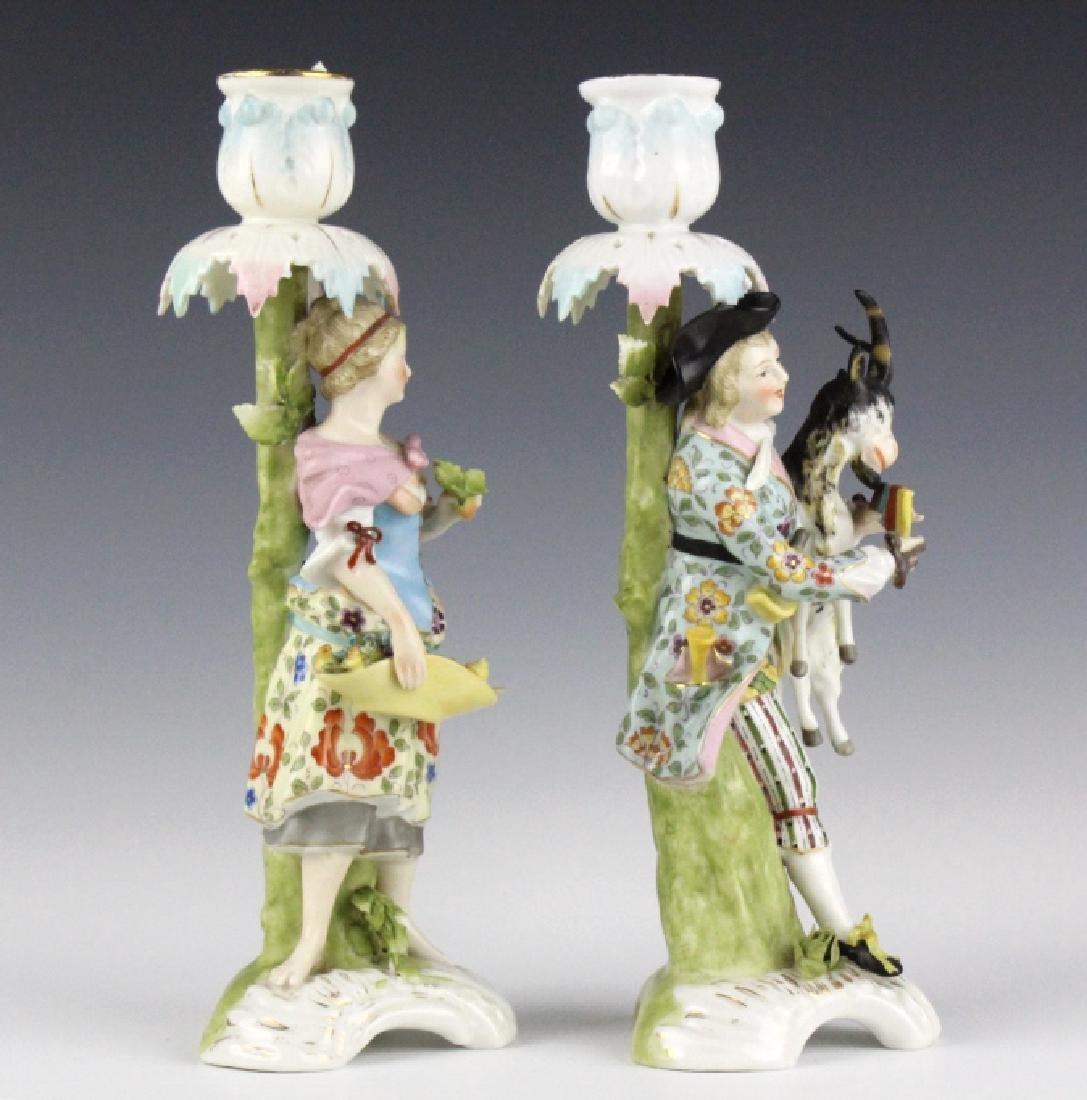 Pair Sitzendorf Figural Porcelain Candlesticks - 8