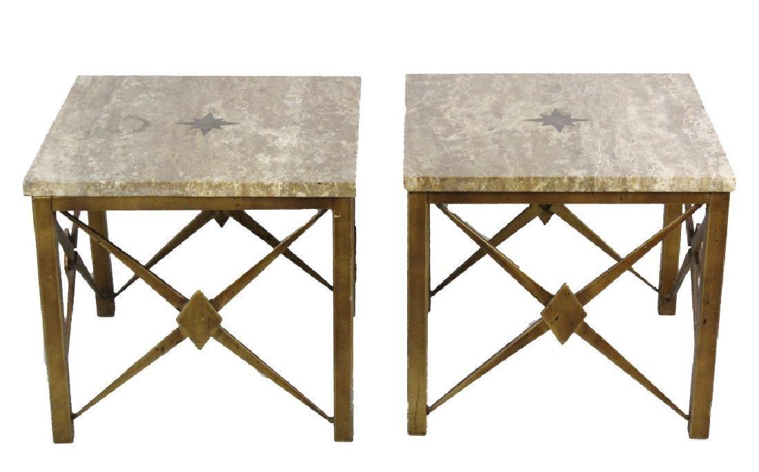 Pair Mid Century Modern Inlaid Bronze Marble Table