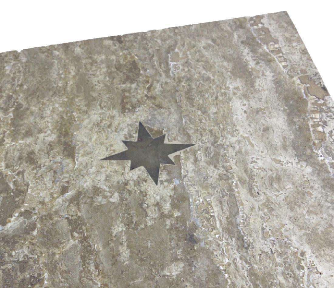 Pair Mid Century Modern Inlaid Bronze Marble Table - 2