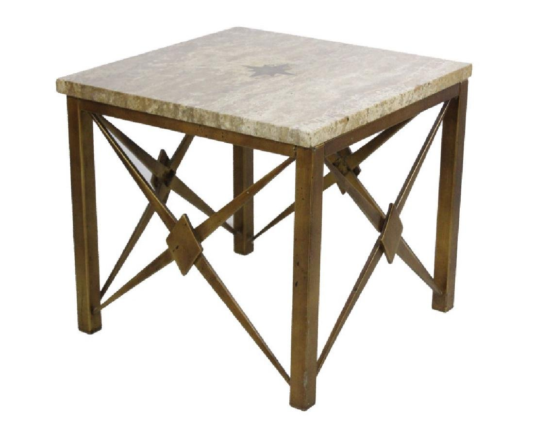 Pair Mid Century Modern Inlaid Bronze Marble Table - 3