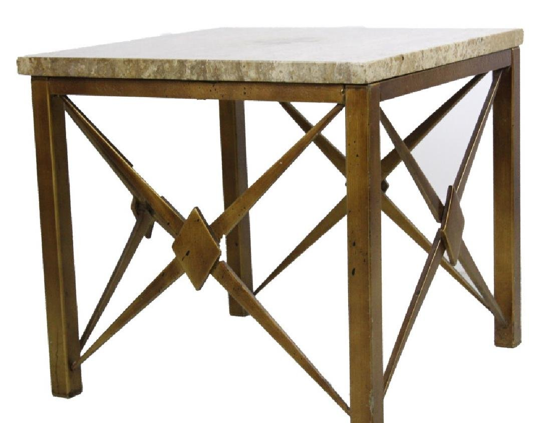 Pair Mid Century Modern Inlaid Bronze Marble Table - 4