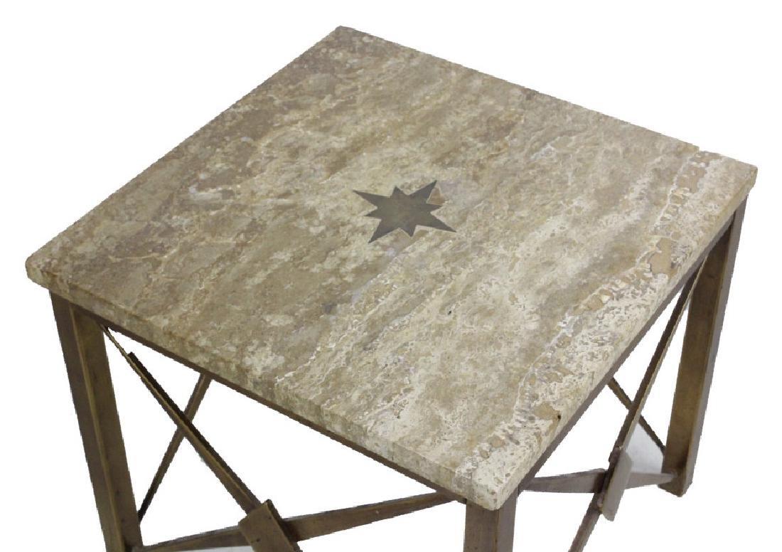 Pair Mid Century Modern Inlaid Bronze Marble Table - 5