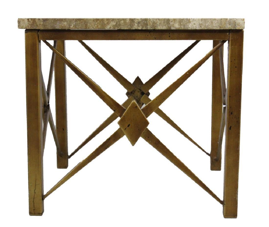 Pair Mid Century Modern Inlaid Bronze Marble Table - 6