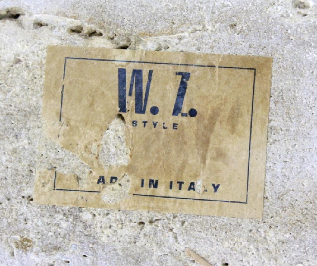 Pair Mid Century Modern Inlaid Bronze Marble Table - 7