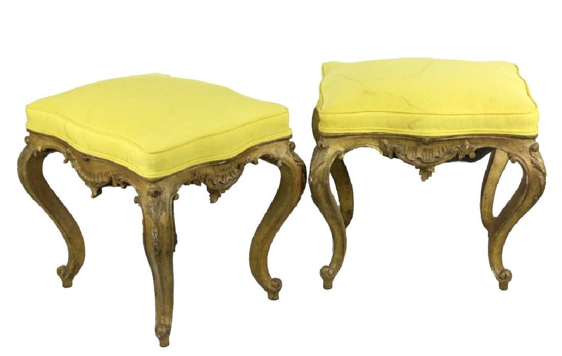 Pair Italian Ornate Carved Gold Gilt Wood Stools