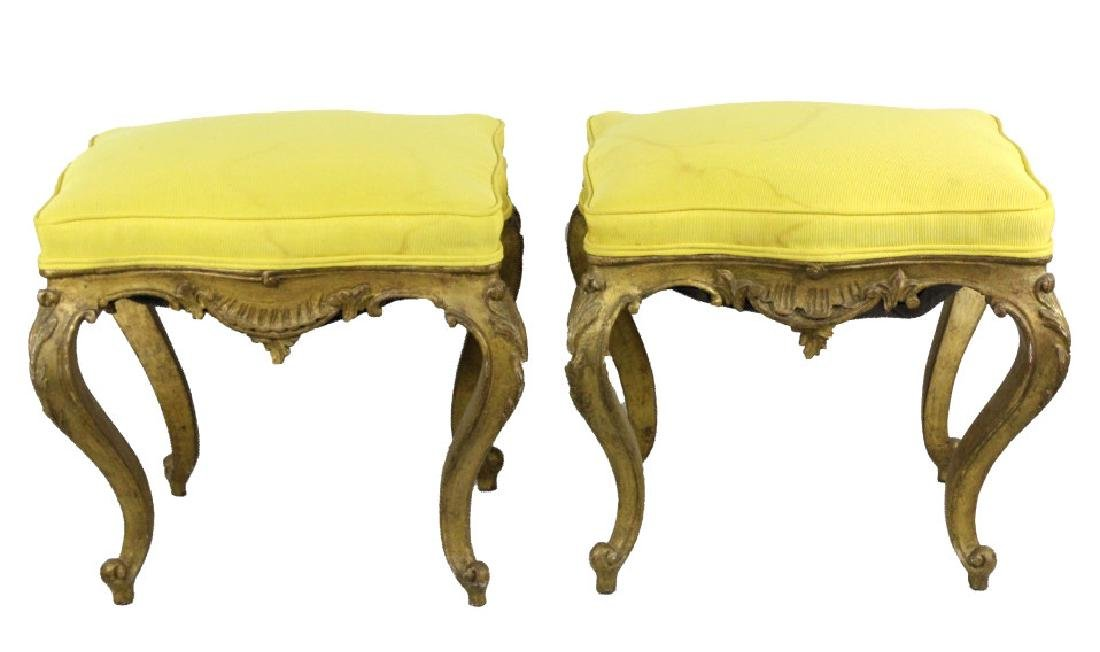 Pair Italian Ornate Carved Gold Gilt Wood Stools - 2