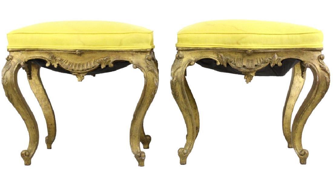 Pair Italian Ornate Carved Gold Gilt Wood Stools - 3