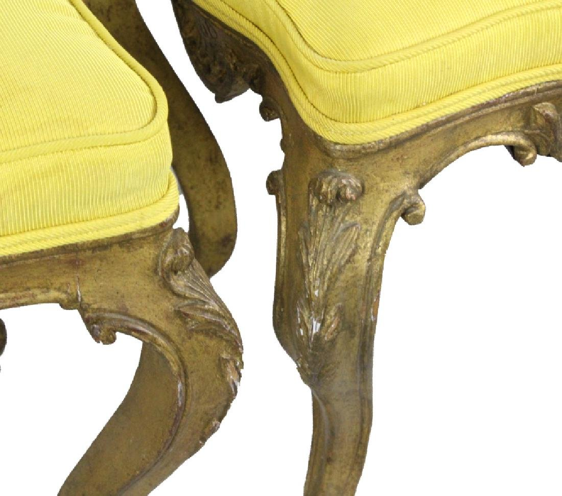 Pair Italian Ornate Carved Gold Gilt Wood Stools - 4