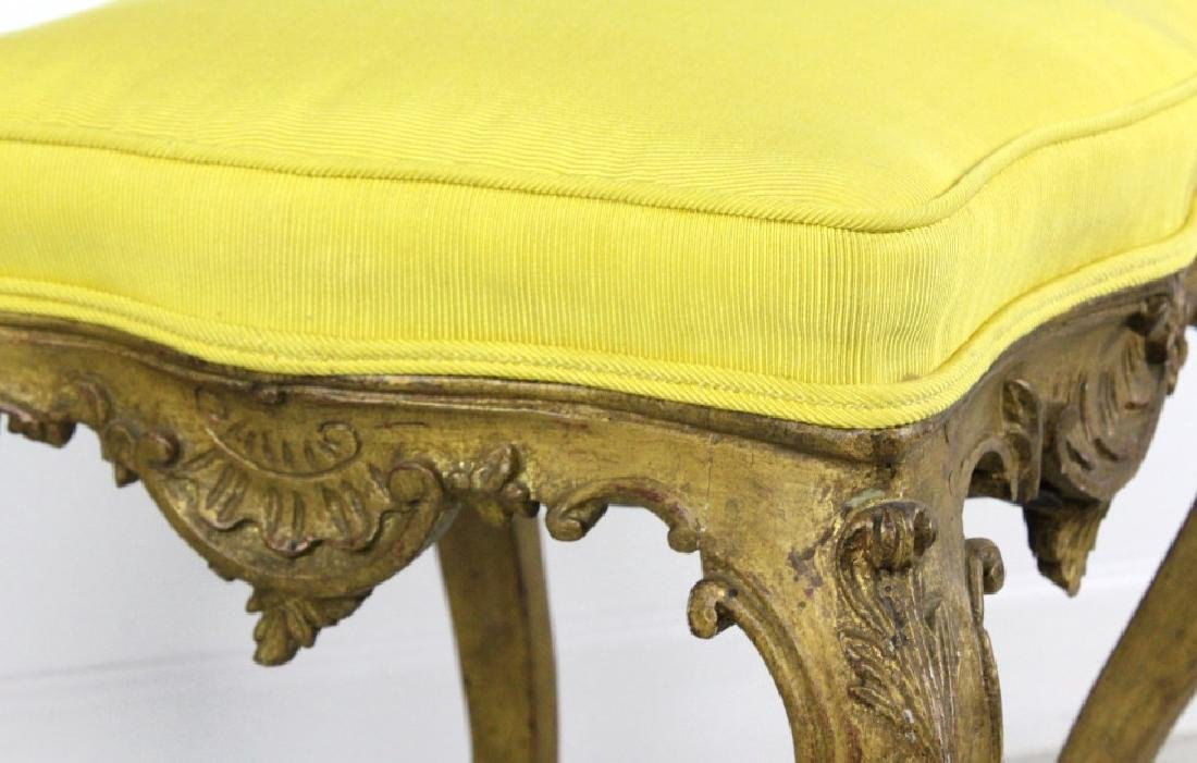 Pair Italian Ornate Carved Gold Gilt Wood Stools - 7
