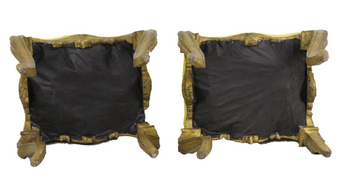 Pair Italian Ornate Carved Gold Gilt Wood Stools - 8