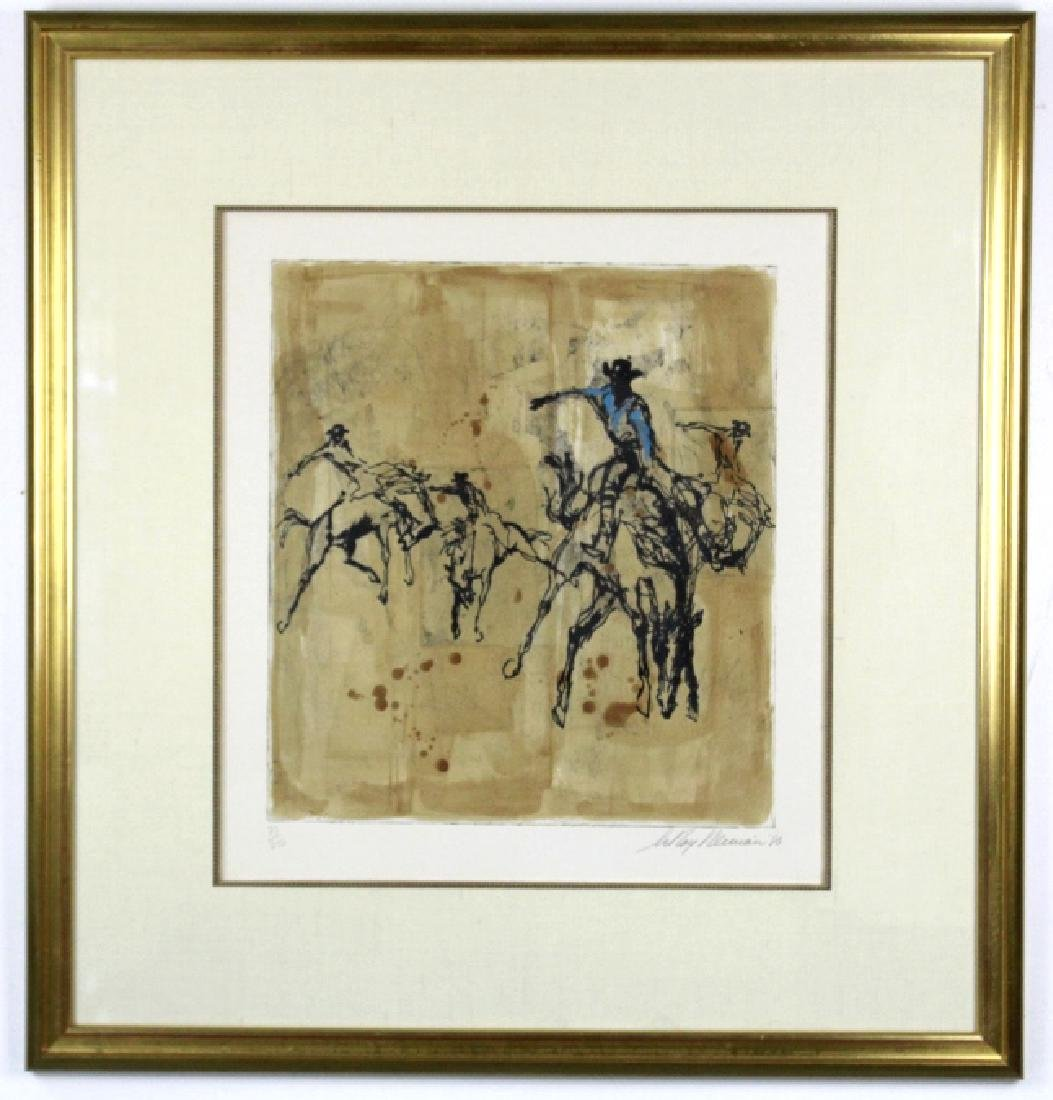 Pencil Signed Leroy Neiman Rodeo LE Etching FRAMED