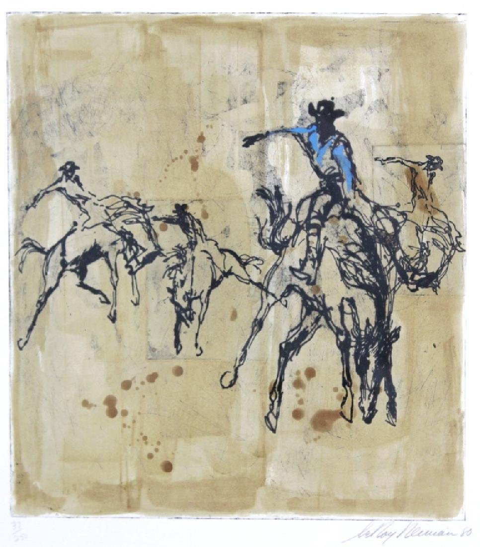 Pencil Signed Leroy Neiman Rodeo LE Etching FRAMED - 2