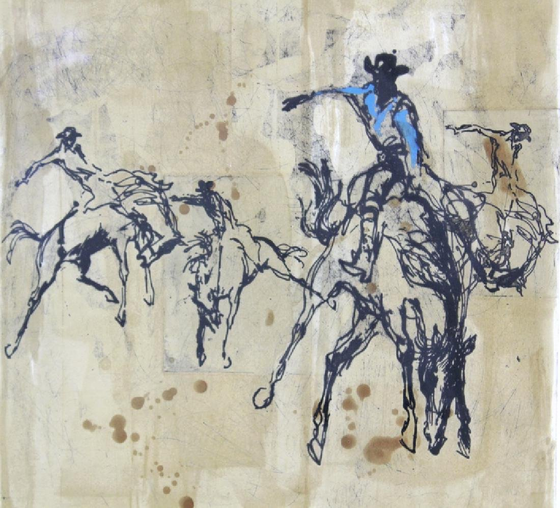 Pencil Signed Leroy Neiman Rodeo LE Etching FRAMED - 5