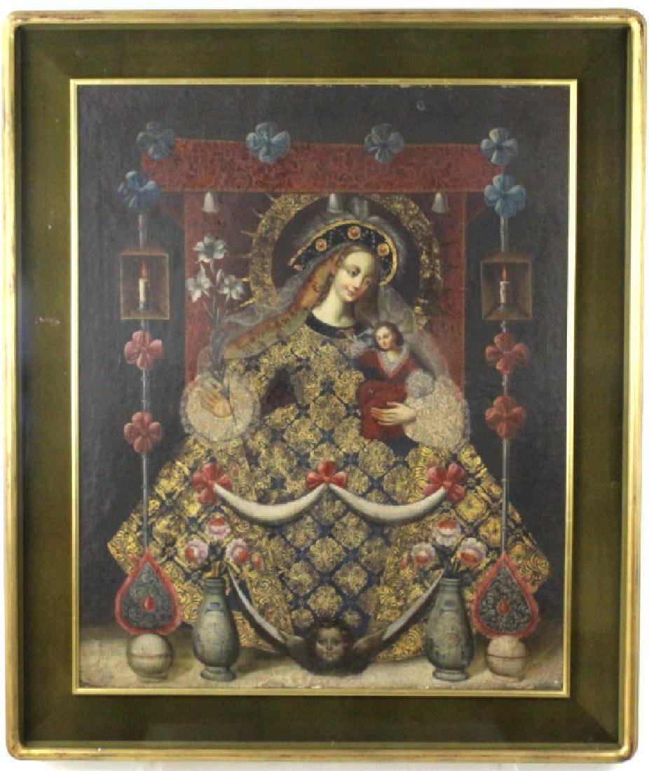 Antique 18th c Cuzco School Religious Oil Painting