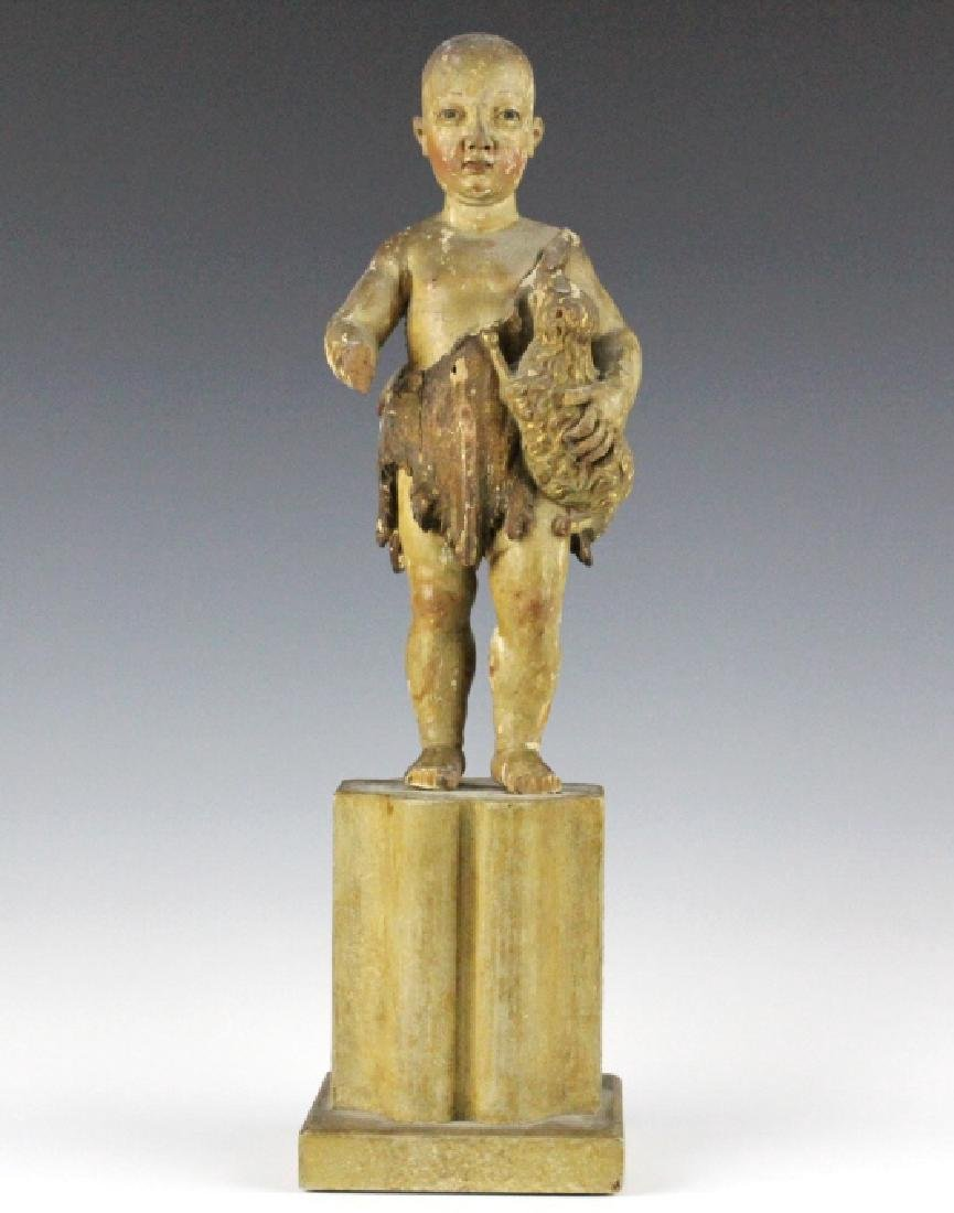 Antique Polychrome Wood Santos Jesus & Lamb Statue