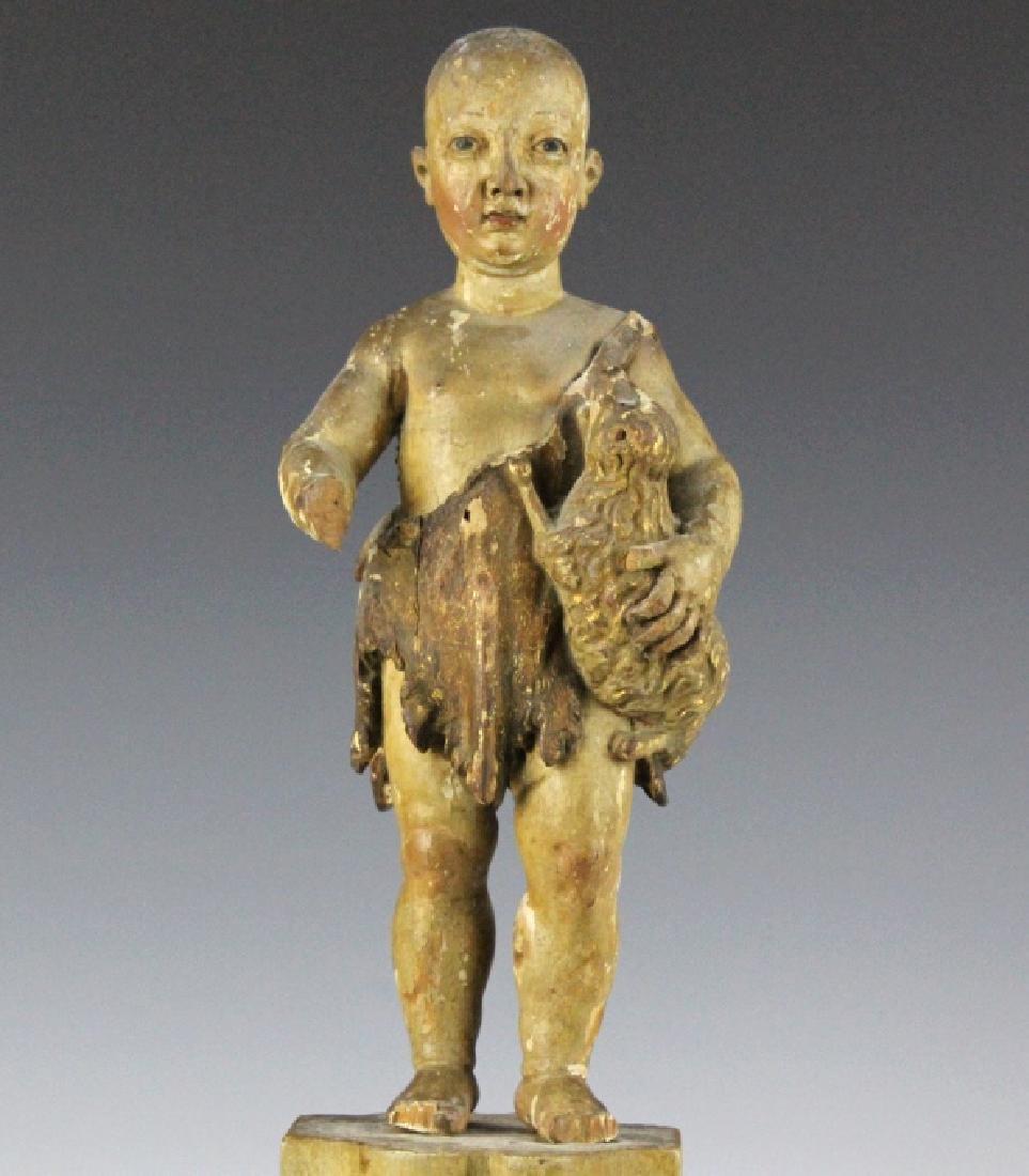 Antique Polychrome Wood Santos Jesus & Lamb Statue - 2