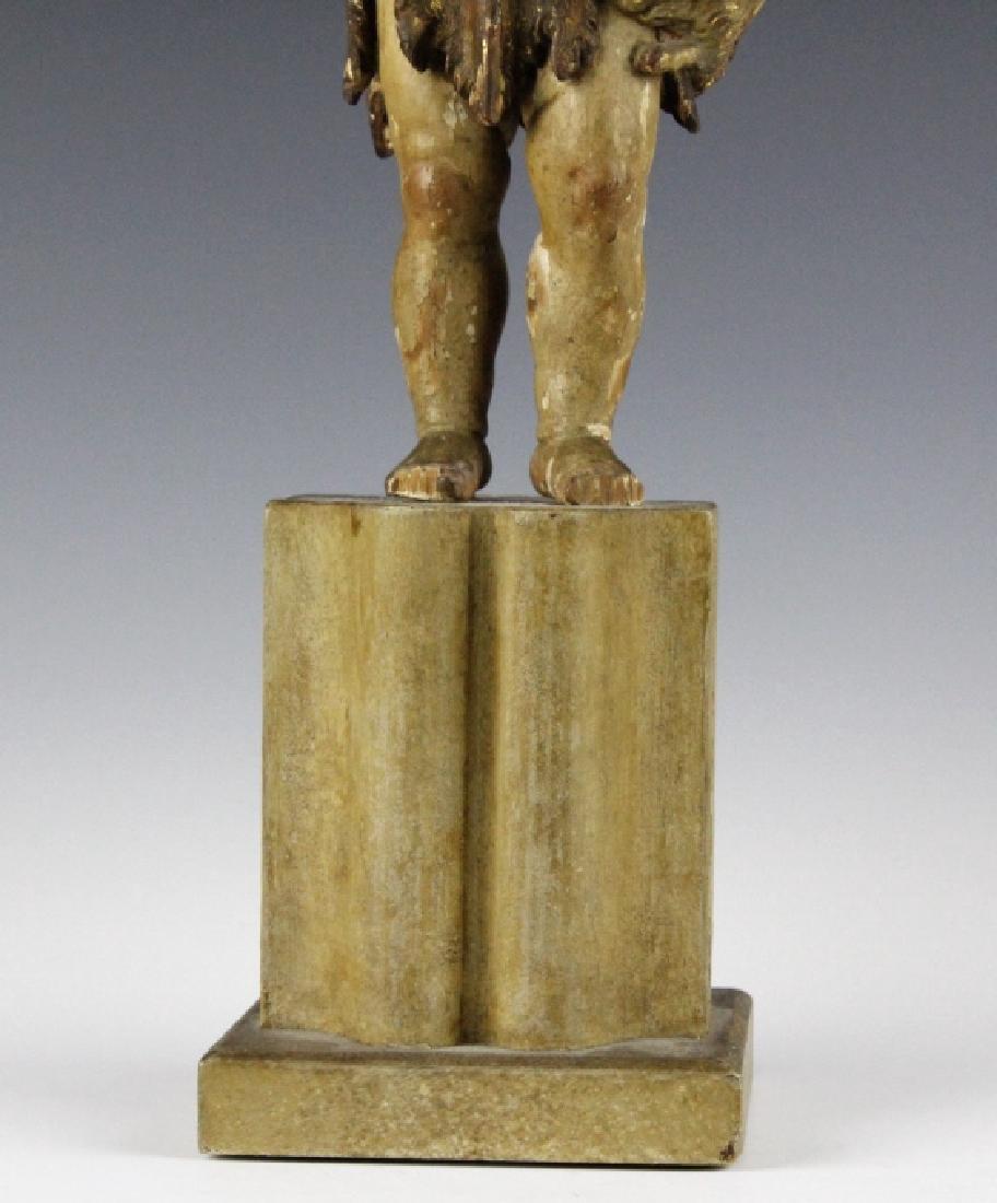 Antique Polychrome Wood Santos Jesus & Lamb Statue - 3