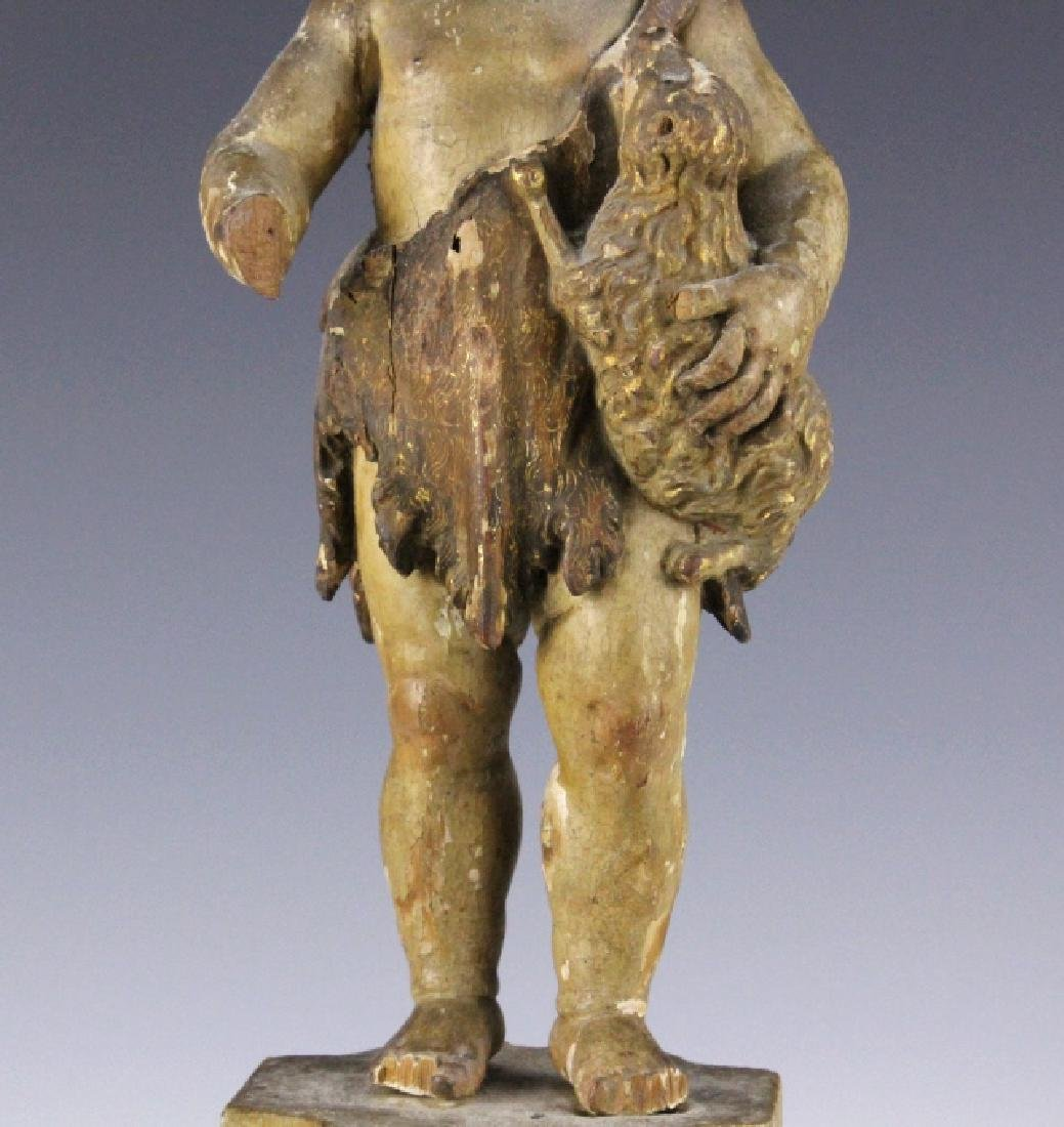 Antique Polychrome Wood Santos Jesus & Lamb Statue - 5