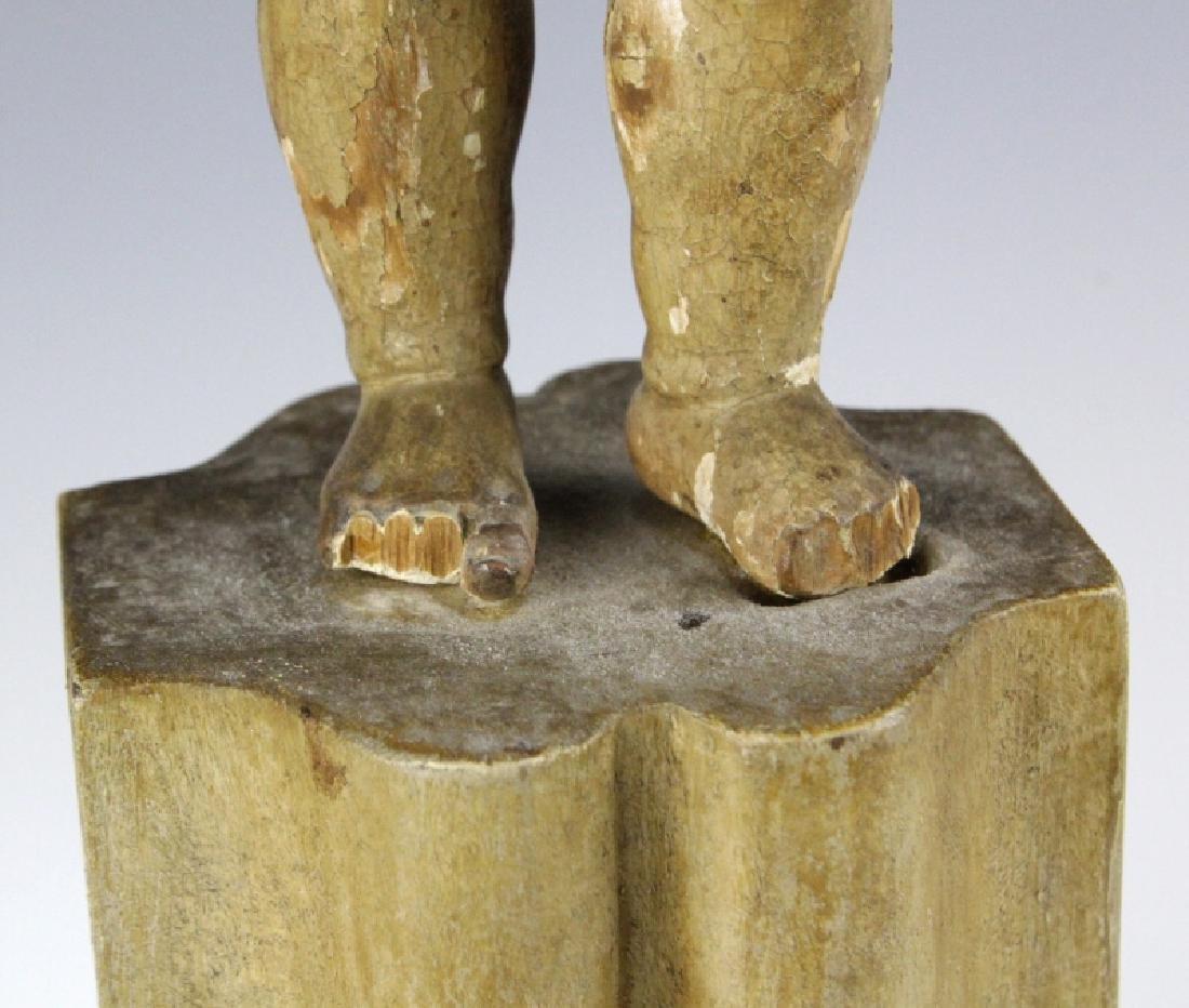 Antique Polychrome Wood Santos Jesus & Lamb Statue - 6