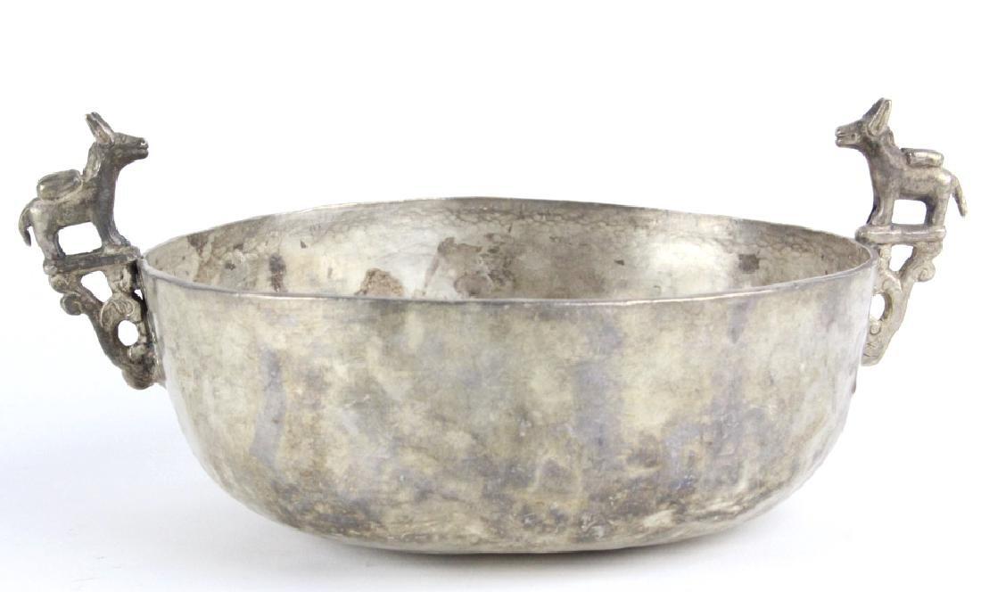 Antique Spanish Colonial Era 17c Silver Keru Bowl