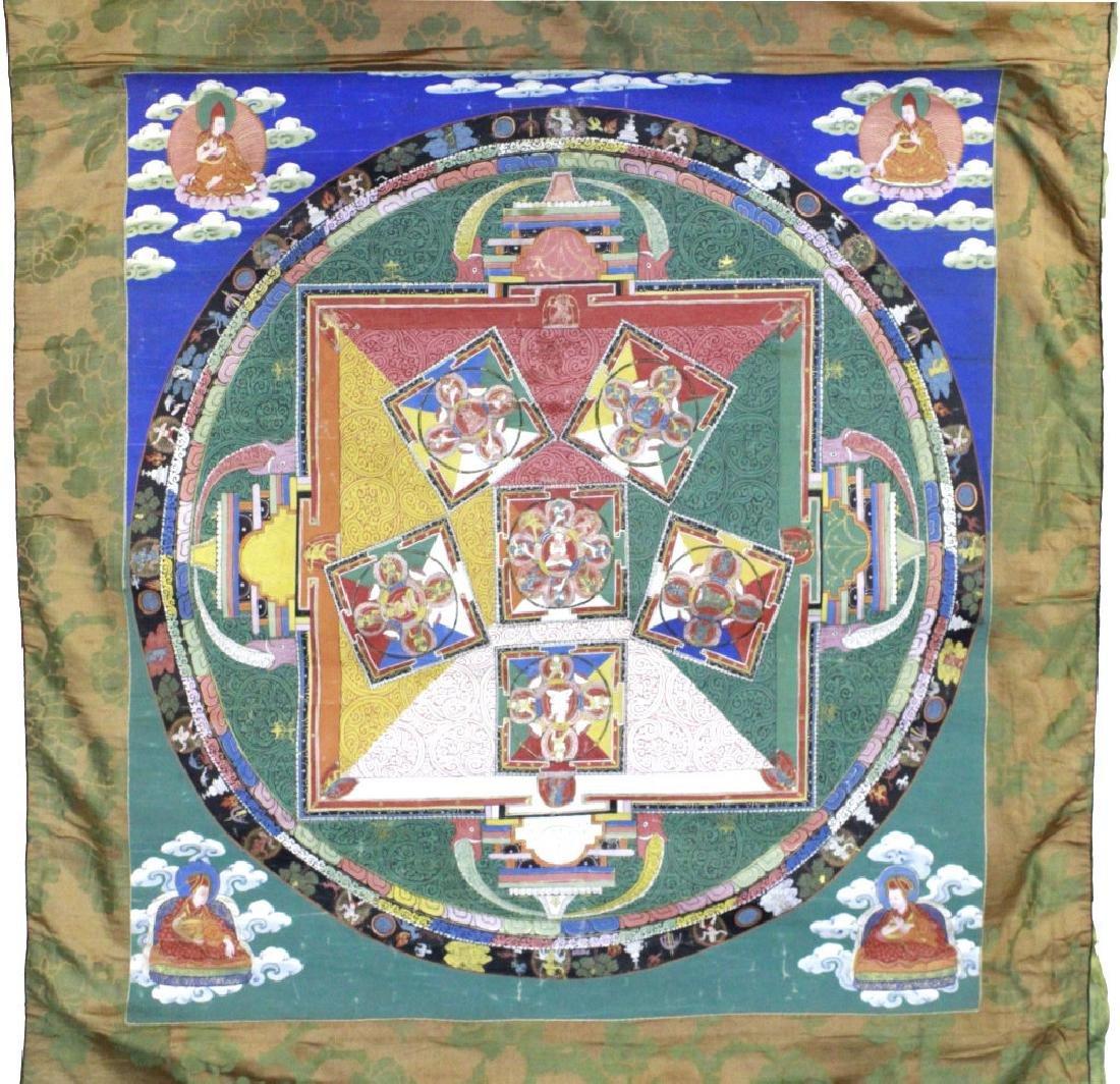 Vtg Hand Painted Tibetian Thangka Art Wall Hanging - 2