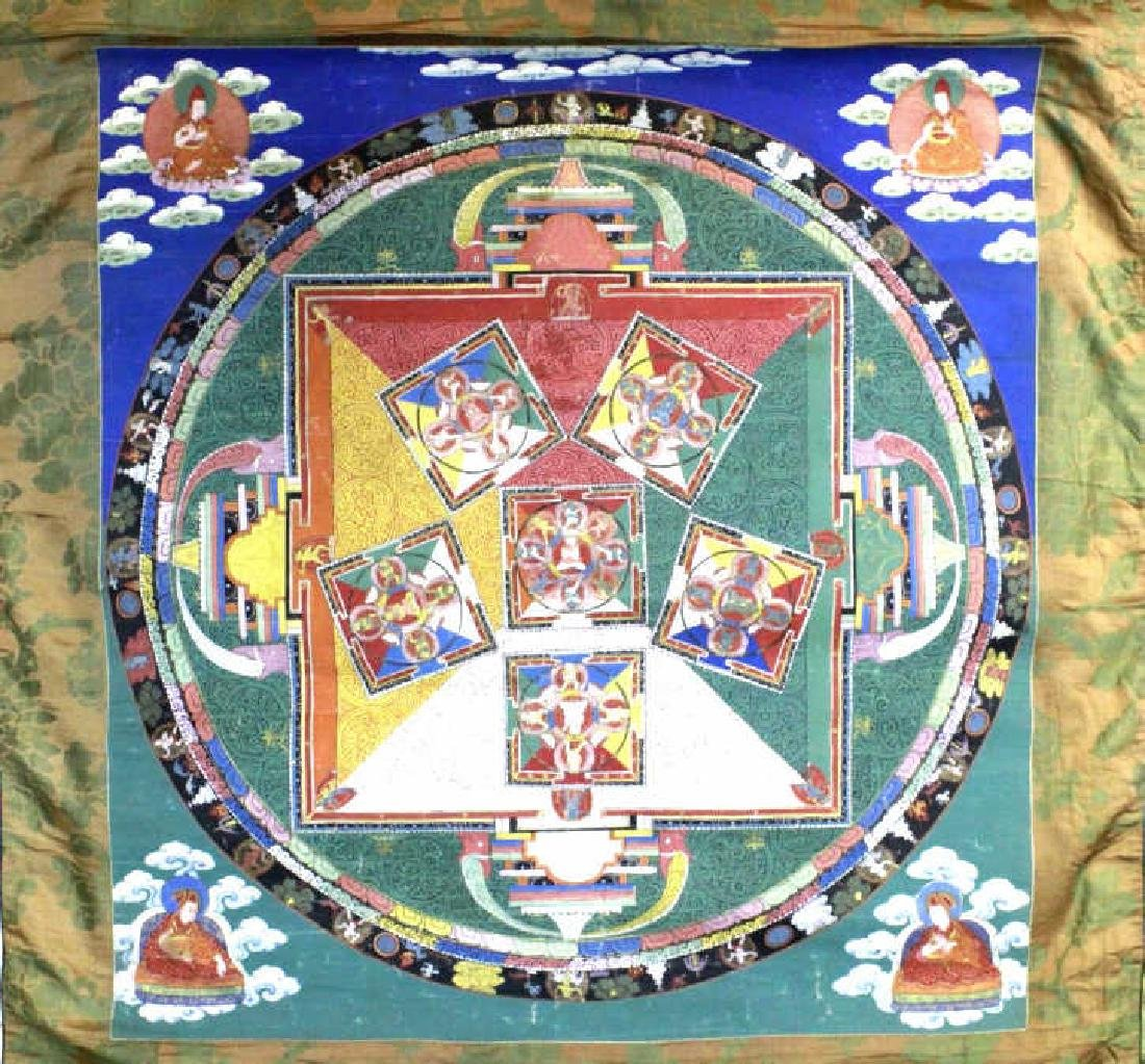 Vtg Hand Painted Tibetian Thangka Art Wall Hanging - 3