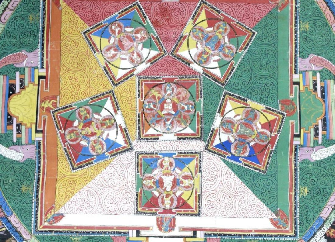 Vtg Hand Painted Tibetian Thangka Art Wall Hanging - 4