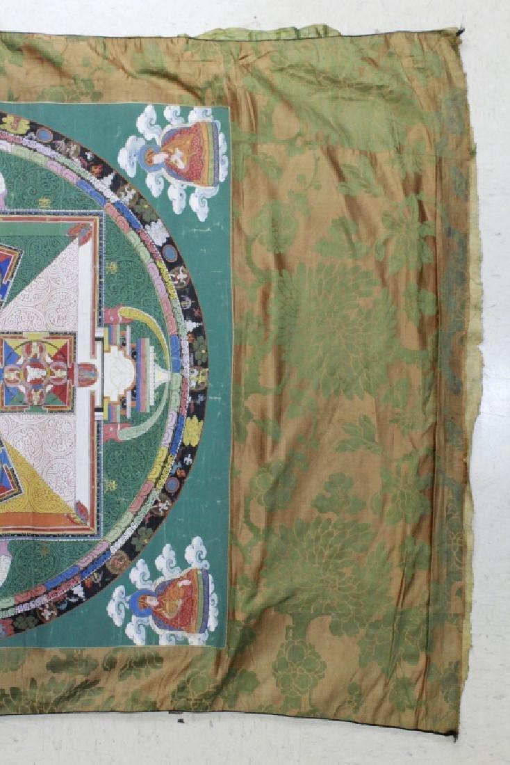 Vtg Hand Painted Tibetian Thangka Art Wall Hanging - 5