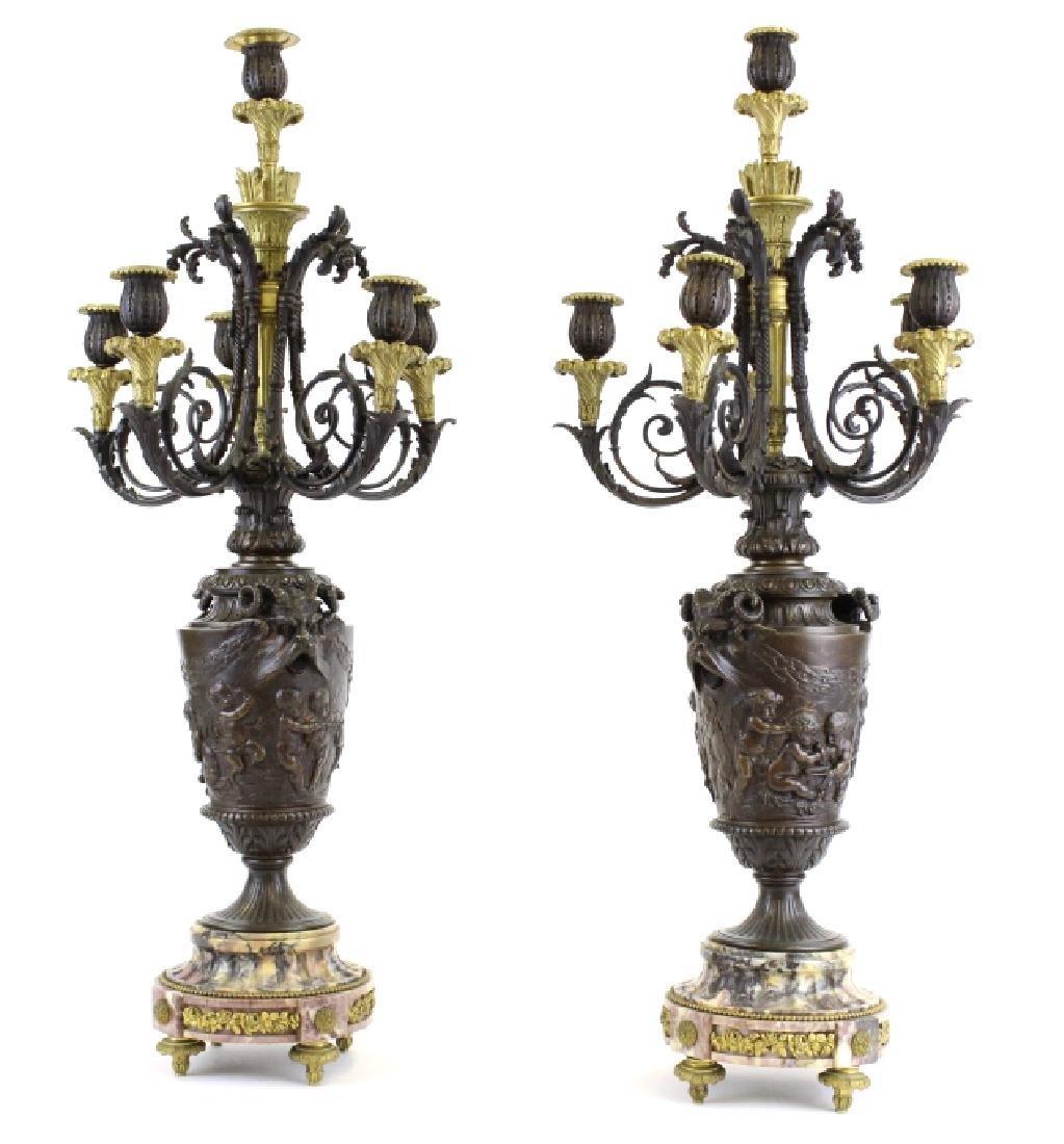 PAIR Ornate Cast & Gilt Bronze Figural Candelabras