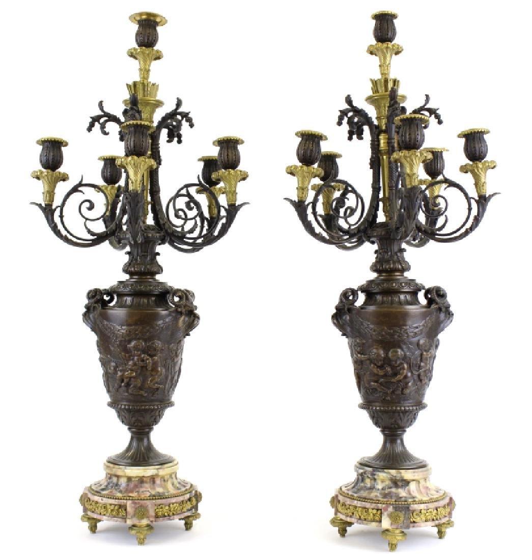 PAIR Ornate Cast & Gilt Bronze Figural Candelabras - 5