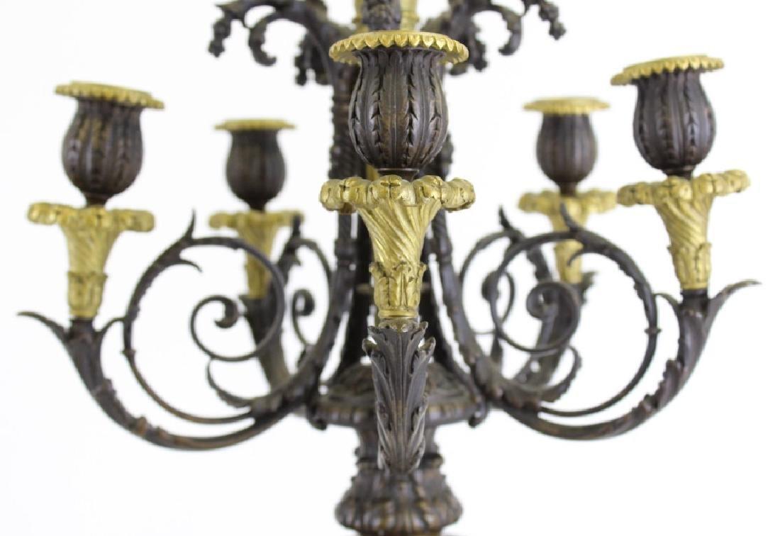 PAIR Ornate Cast & Gilt Bronze Figural Candelabras - 8