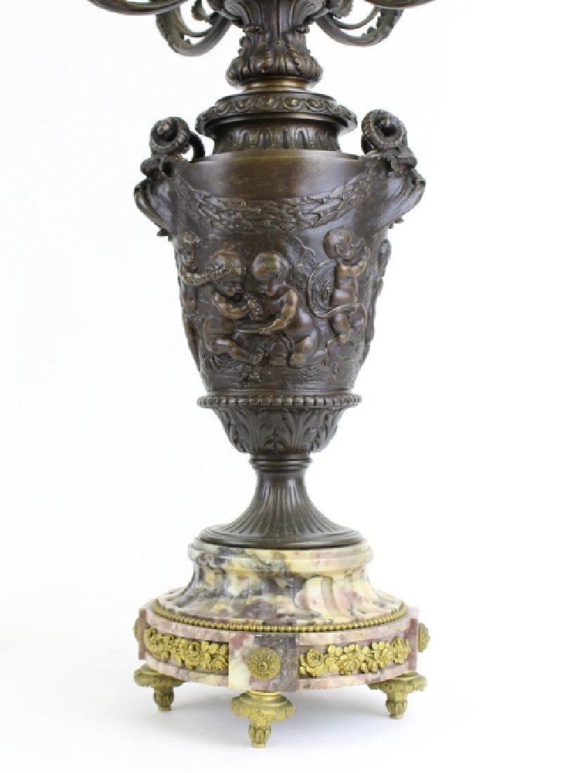 PAIR Ornate Cast & Gilt Bronze Figural Candelabras - 9