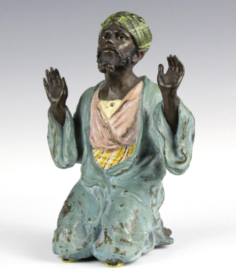 Franz Bergman Cold Painted Bronze Prayer Man - 2
