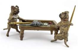 Franz Bergman Pug Dog Pool Players Bronze Figurine