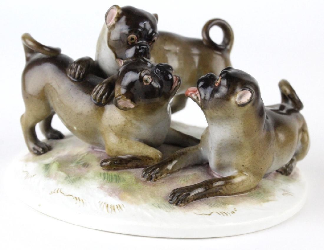 Antique Meissen Pug Dog Porcelain Figural Group