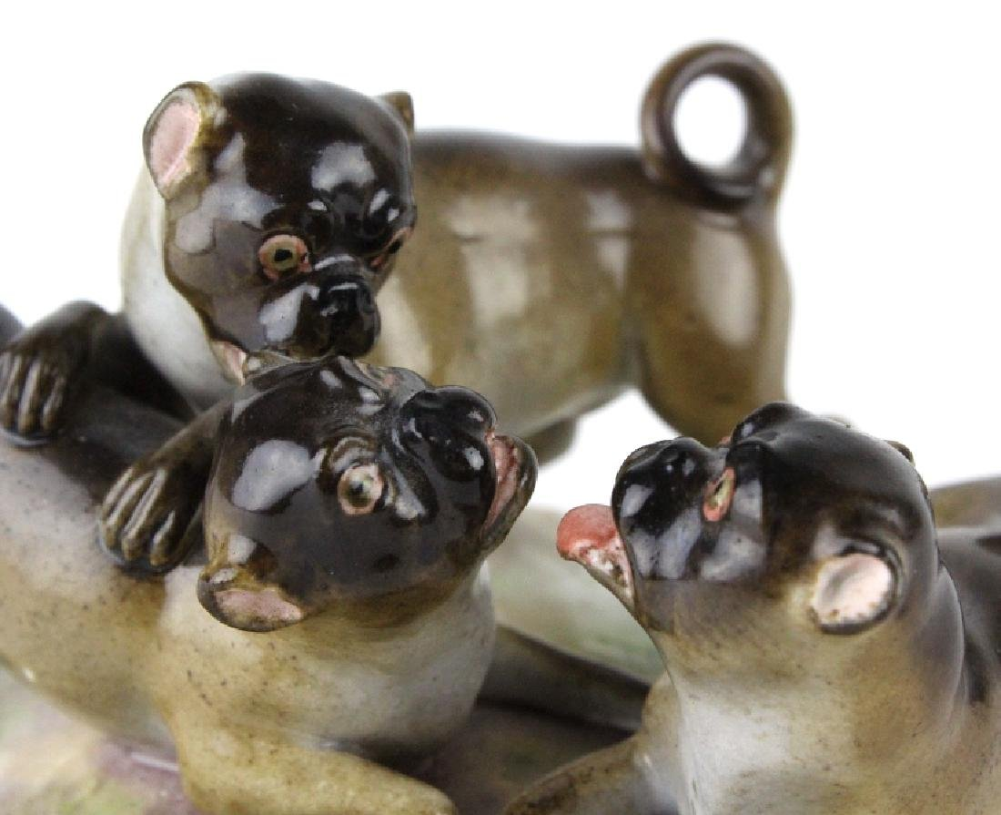 Antique Meissen Pug Dog Porcelain Figural Group - 2