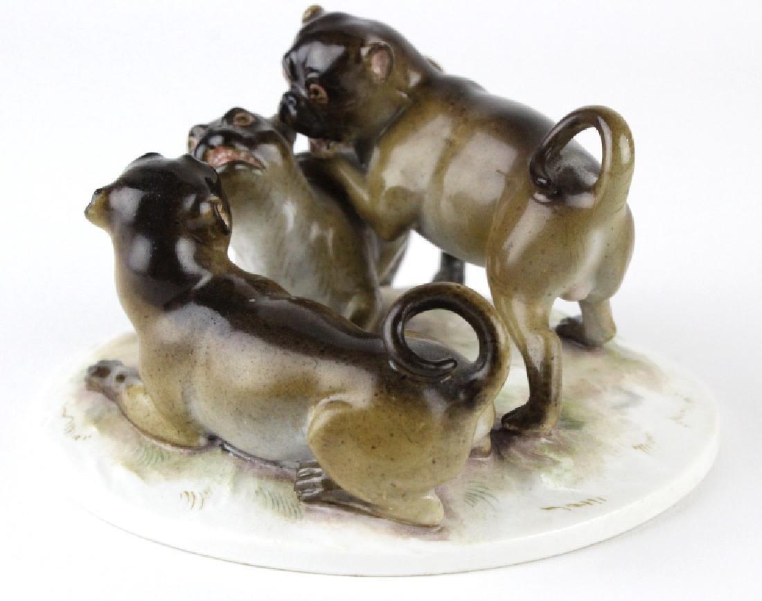 Antique Meissen Pug Dog Porcelain Figural Group - 3