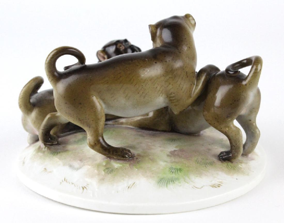Antique Meissen Pug Dog Porcelain Figural Group - 4