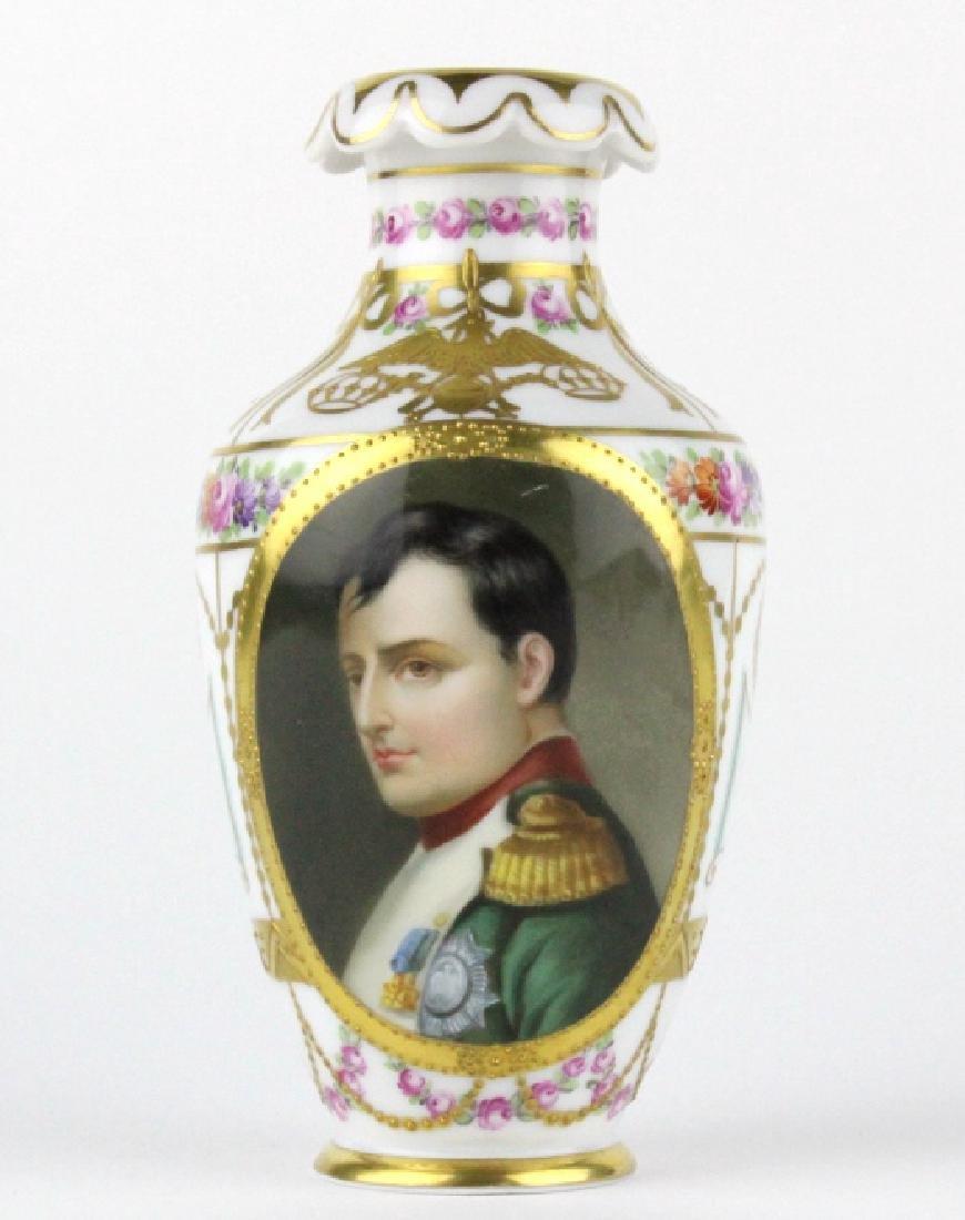 Antique Dresden Napoleon Portrait Porcelain Vase