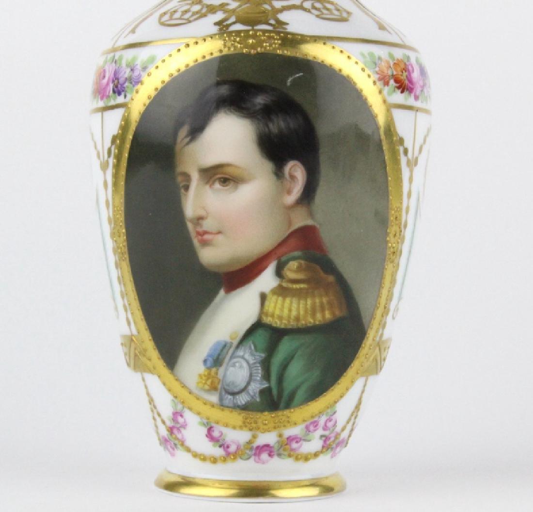 Antique Dresden Napoleon Portrait Porcelain Vase - 2
